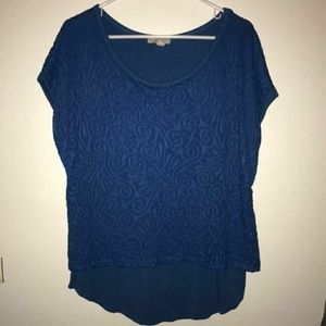 Short sleeve layered blue top